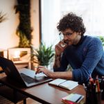 Man working from desk at home